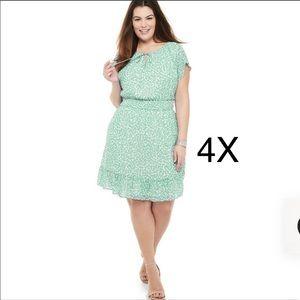 Plus Size EVRI Short Sleeve Smocked Waist Dress